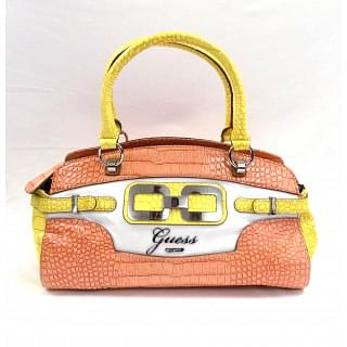 Guess Orange and White Satchel Bag