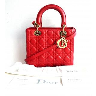 "Lady Dior Red ""Cannage"" Bag"