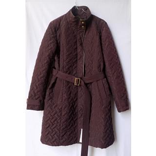 Cole Haan Faux Leather Trim belted quilted Jacket