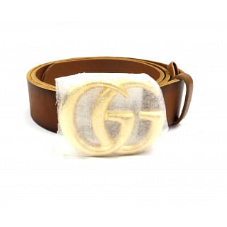 Gucci Brown Double GG Buckle Leather Belt