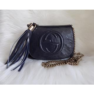 Gucci Navy Leather Soho Chain Shoulder Bag