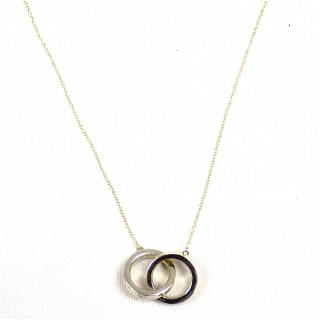 Tiffany & Co. 925 Sterling Silver Double Ring Pendant Necklace