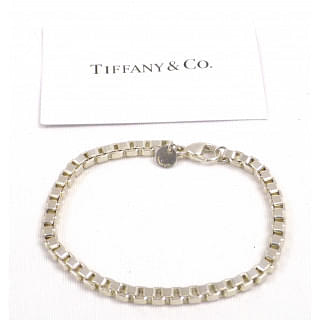 Tiffany & Co. 925 Sterling Silver Square Venetian Link Bracelet