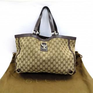 Gucci Monogram Abbey Large Brown Tote Bag