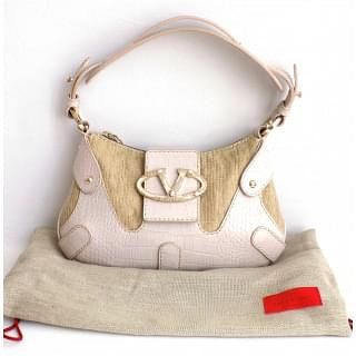 Valentino Pink Fabric and Leather Small Hand Bag