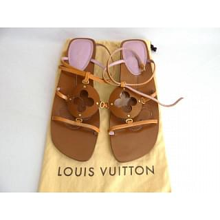 Louis Vuitton Leather T-strap Thong Brown Sandals