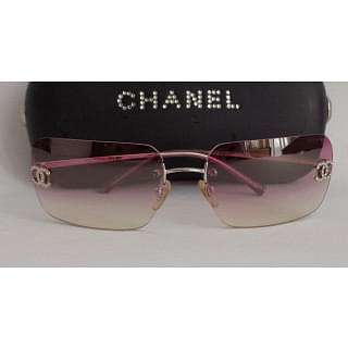 "Chanel Silver-Tone ""CC"" Pink Rimless"