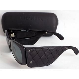 Chanel Black Quilted Leather Sunglasses