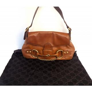 Gucci Brown Leather Horsebit Chain Small Shoulder Bag