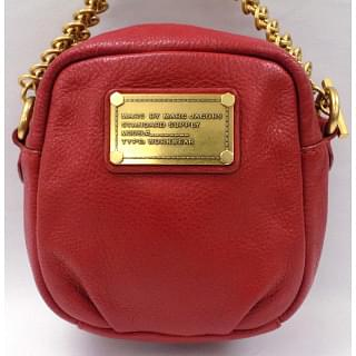 MARC BY MARC JACOBS Logos Chain Mini Hand Bag Leather Red