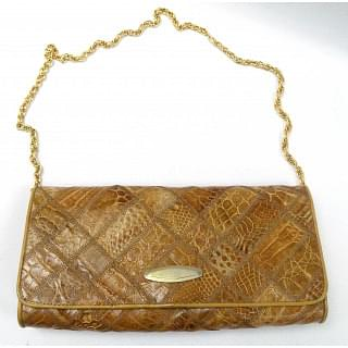 Vintage Crocodile Skin Clutch Bag with Removable Long Strap