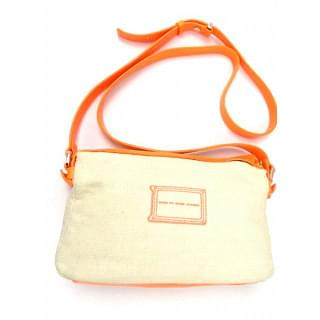 MARC BY MARC JACOBS Beige Neon Orange Canvas Leather Trim Crossbody Bag