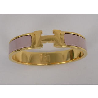 Hermes Narrow Enamel Bracelet Rose Gold Plated Hardware