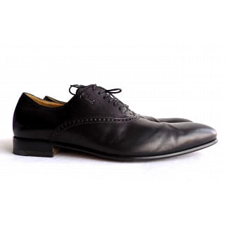Gucci Black 269646 Men's Leather Lace-up Wing Shoes