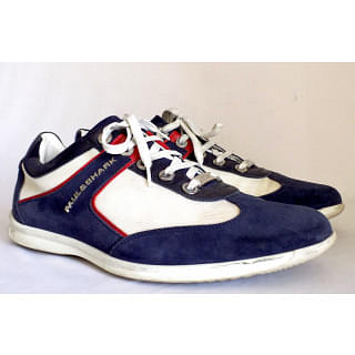 Paul & Shark Red White And Blue Suede Nylon Sneaker