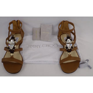Jimmy Choo Store Canyon Leather Flat Sandals with Jewel Piece