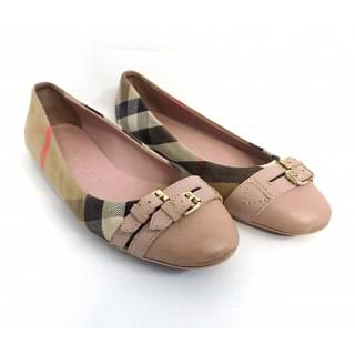 Burberry Nude Blush Belt Detailed House Check Ballerinas Flats