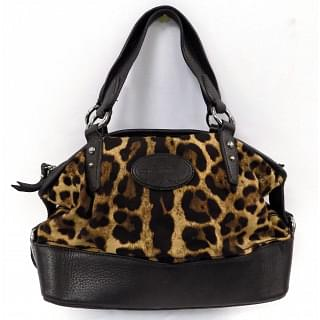 Dolce and Gabbana Black Leopard Print Fabric and Leather Animalier Satchel