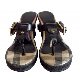 Burberry Black Leather Thong Espadrilles Wedges