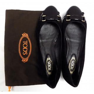 TOD'S classic Patent & suede loafers Black