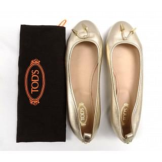 Tods Silver leather ballerinas