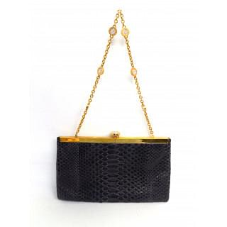 Bvlgari Charcoal Python Single Strap Evening Bag