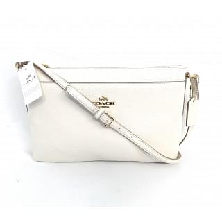 Coach White Polished Journal Pebble Leather Crossbody Bag