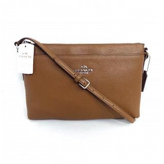 Coach Brown Polished Journal Pebble Leather Crossbody Bag