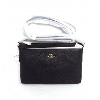 Coach Black Polished Journal Pebble Leather Crossbody Bag