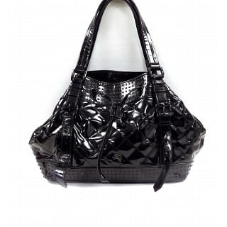 BURBERRY Black Quilted Patent Leather