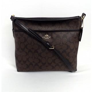 Coach Brown and Black Coated Canvas Signature File Bag