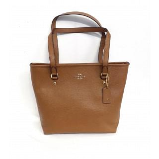 Coach Brown Zip Top Crossgrain Saddle Leather Tote