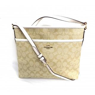 Coach Light Gold Coated Canvas Signature File Bag