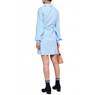 Versus Versace Lace-up cotton-poplin mini shirt dress