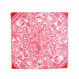 Louis Vuitton Pink Flower Silk Square Scarf