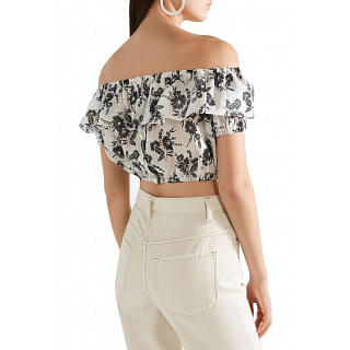 Miu Miu Cropped off-the-shoulder ruffled floral-print ramie top