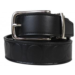 Coach Harness Signature Black Embossed Leather Reversible Belt
