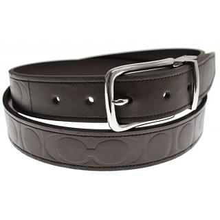 Coach Harness Signature Brown Embossed Leather Reversible Belt