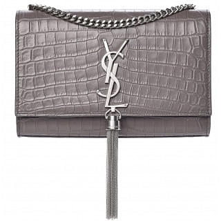 YSL Kate Medium Tassel Crocodile Embossed Leather Bag