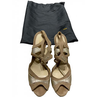 Fendi Suede And Leather Strap Sandals