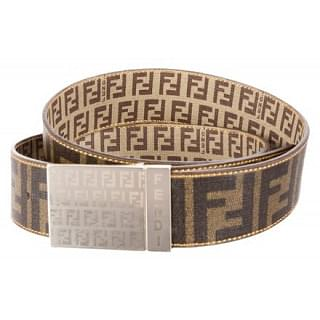 Fendi Zucca Monogram Gold Buckle Belt