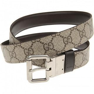 GUCCI Reversible Brown & Signature GG Canvas Belt