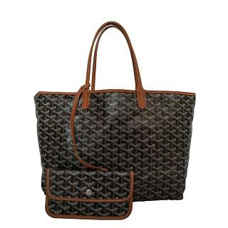 Goyard Saint Louis Goyardine PM Black & Tan Tote