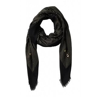 Gucci Black Cashmere Star Print Guccy Scarf