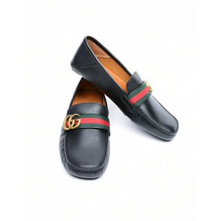 Gucci Web GG Leather Driver Loafer