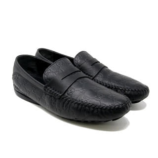 Gucci Black San Marino GG Leather Men's Loafers
