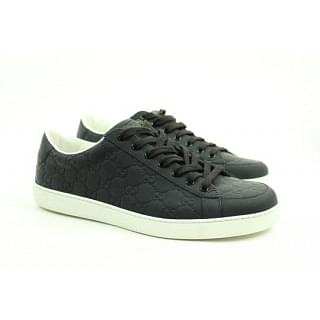 Gucci Monogram Leather Black White Low Top 10 Sneakers
