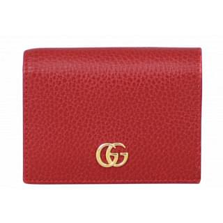 Gucci Hibiscus Red Leather Card Case Wallet
