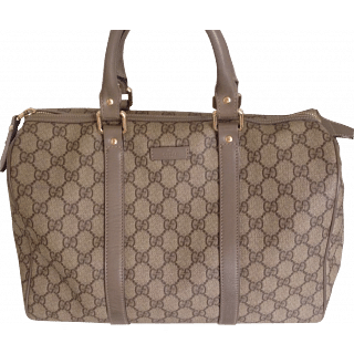 Gucci Boston Bag with Taupe Piping