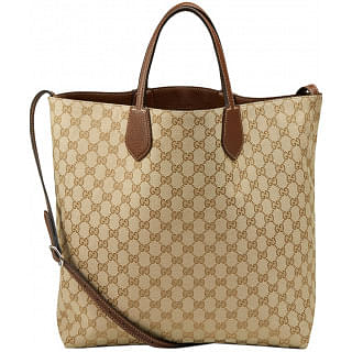 Gucci Ramble Medium Leather and Canvas Reversible Tote